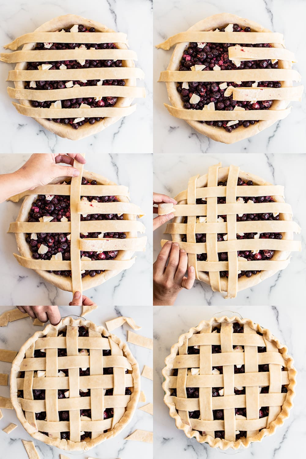 step by step photo collage showing how to prepare lattice pie crust