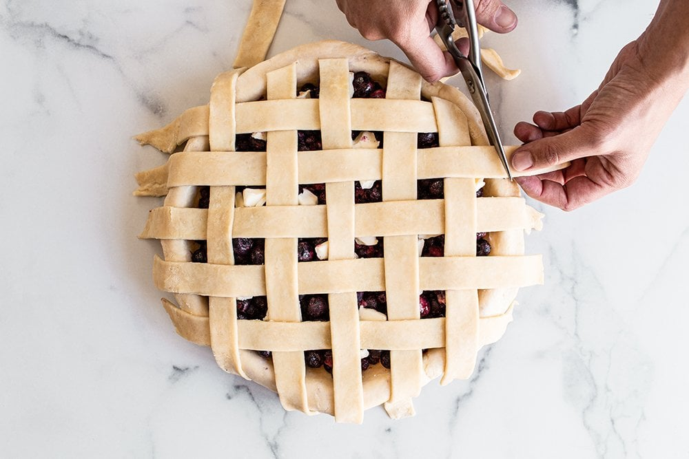 trim any excess pieces of pie strips