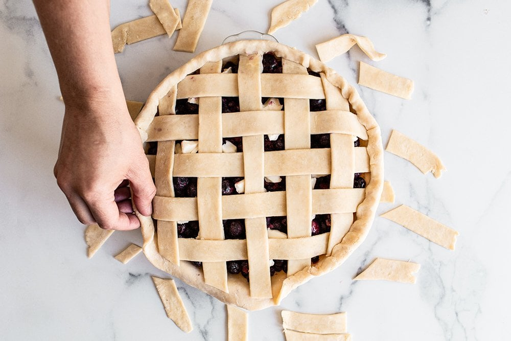 tuck the pie dough to form your border