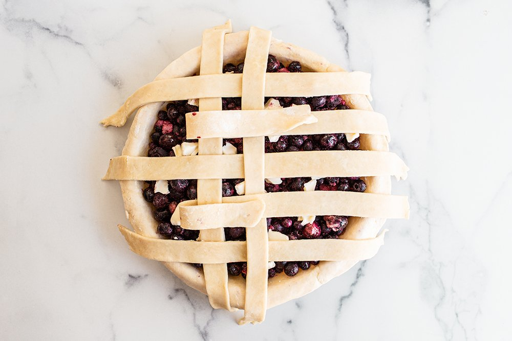 photo showing how to make a lattice pie crust