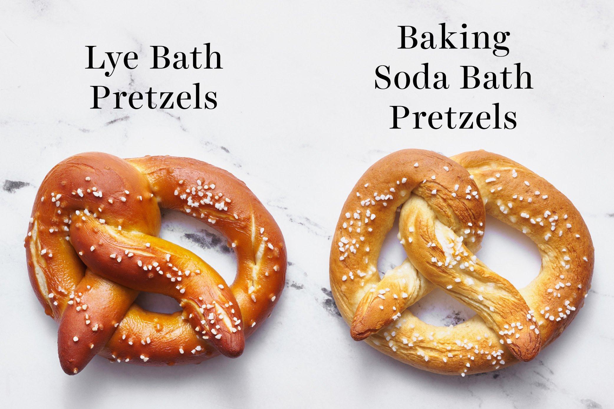 a comparison of lye bath pretzels vs baking soda bath pretzels