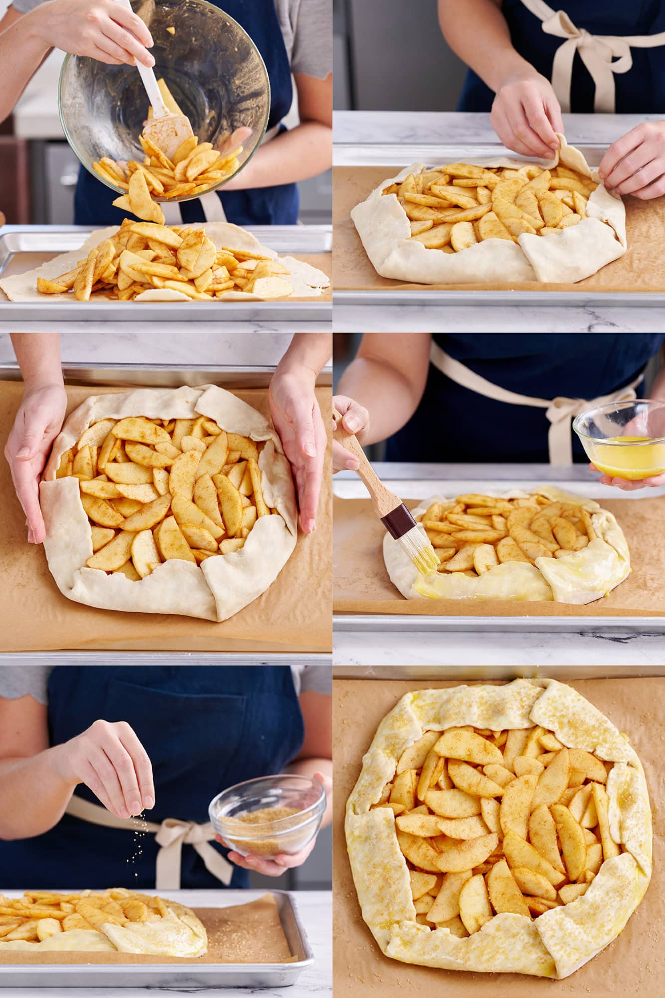 step by step process shots of how to prepare an easy homemade apple galette