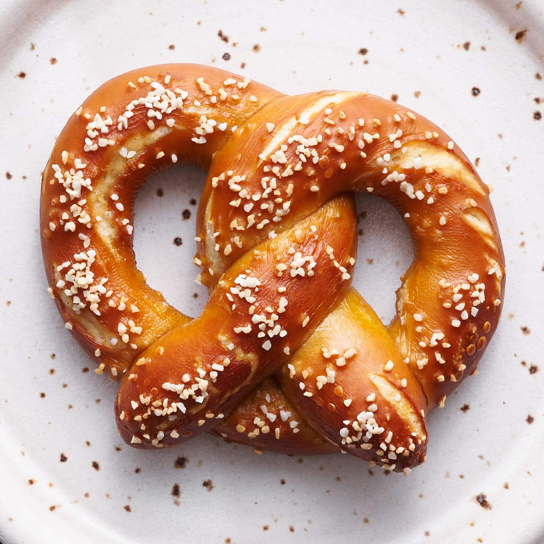 homemade german pretzel recipe with salt on a plate