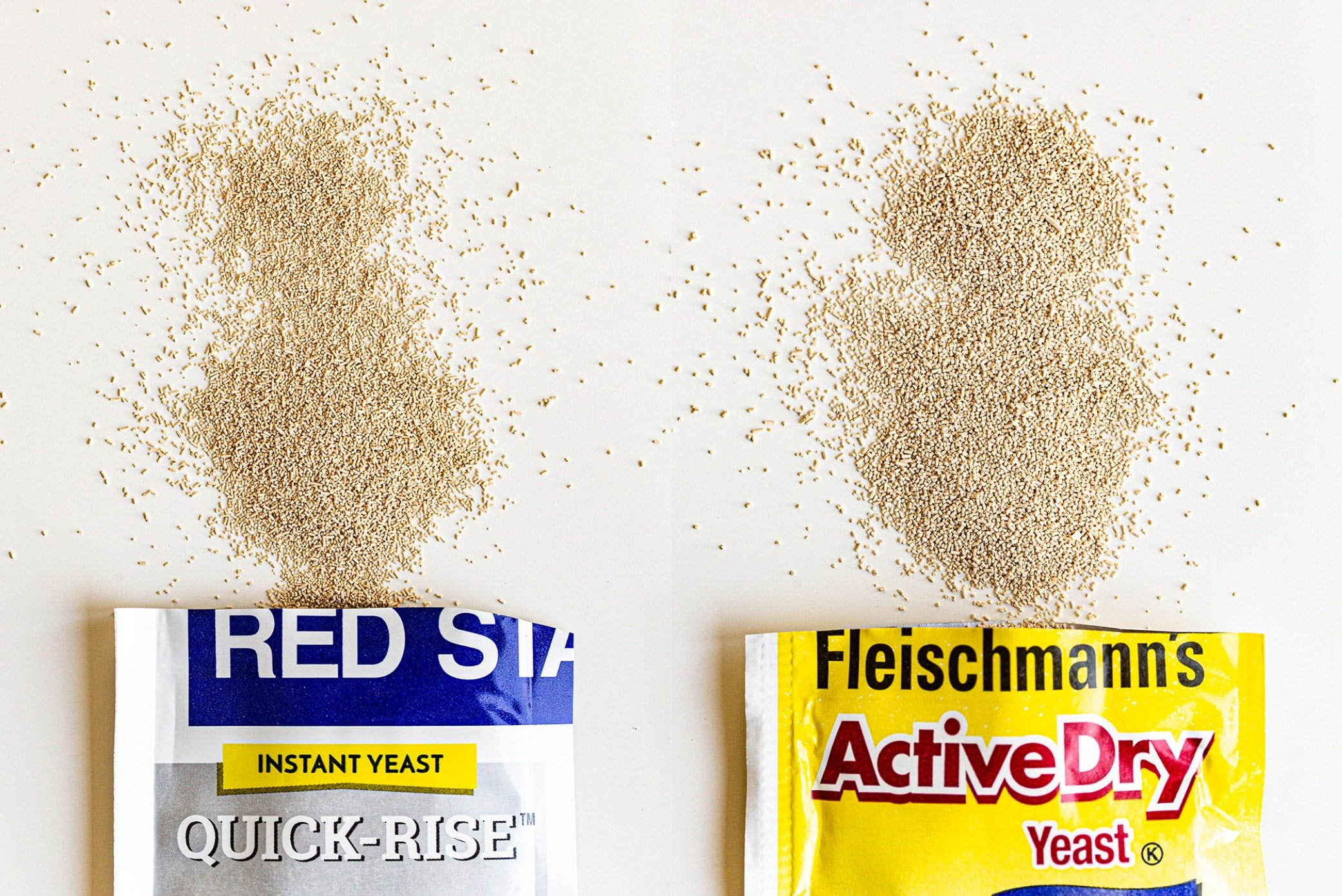 two packets of instant yeast on the left and active dry yeast on the right