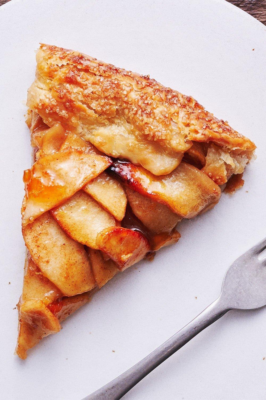 slice of easy homemade apple tart on a plate