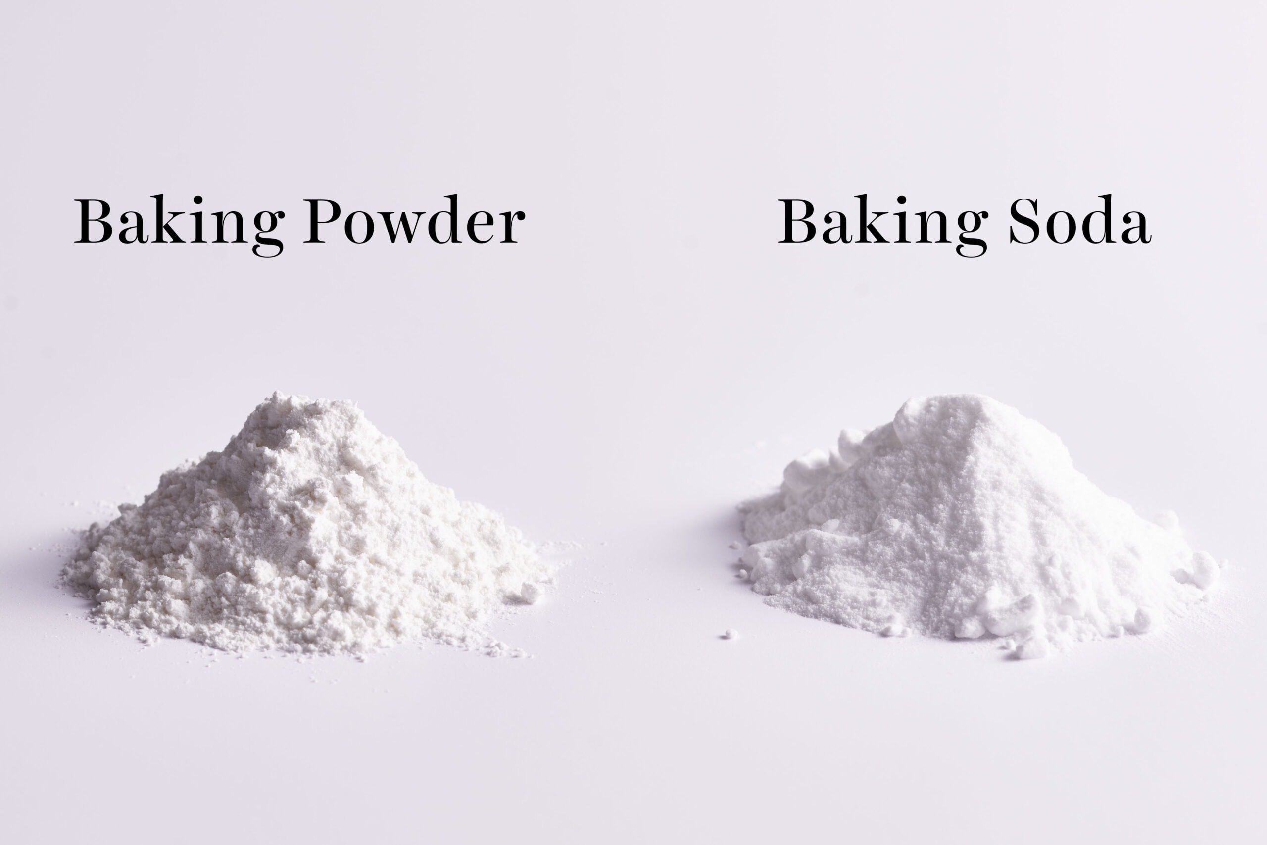 pile of baking powder vs pile of baking soda