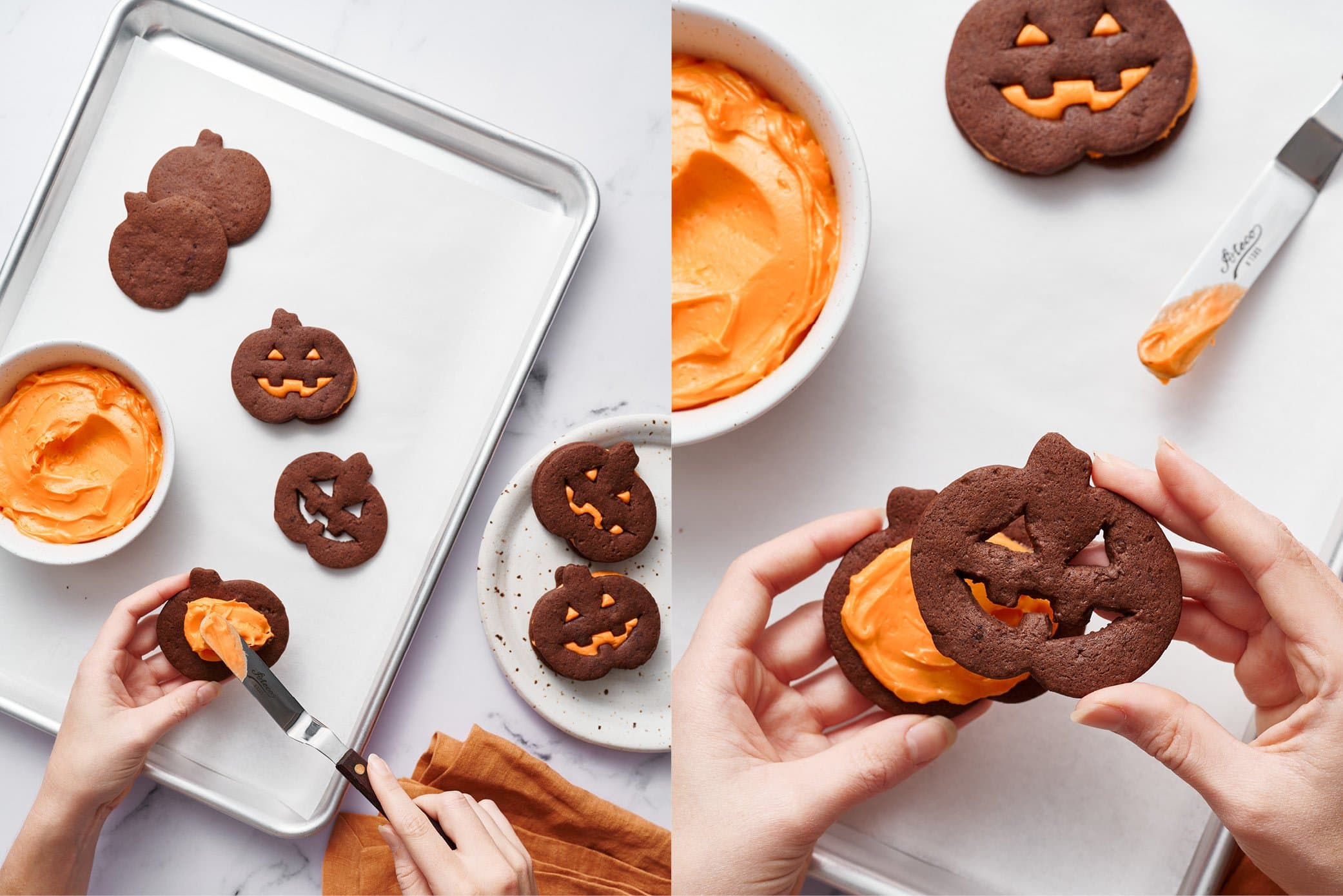 how to assemble a jack o lantern cookie sandwich