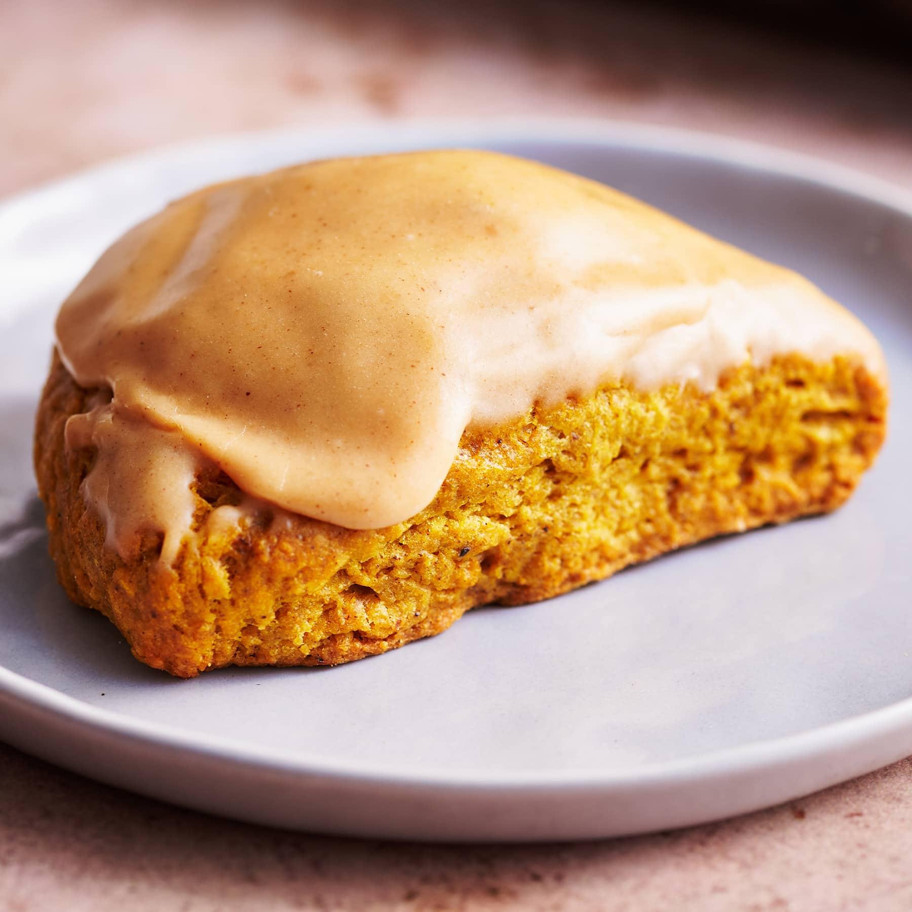 homemade pumpkin scone with pumpkin glaze