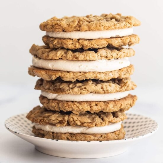 copycat little debbie oatmeal cream pie sandwiches stacked on top of each other