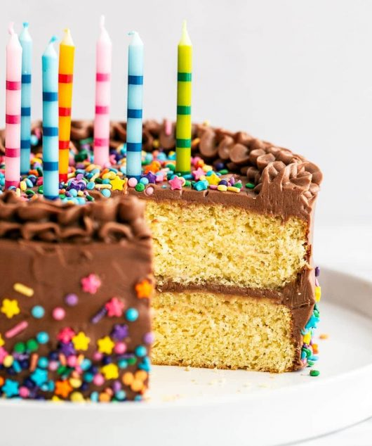 Best birthday cake with homemade yellow cake, chocolate frosting, sprinkles and candles on top